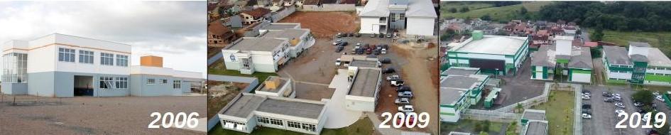 Sequência de fotos do Câmpus Joinville, nos anos de 2006, 2009 e 2019